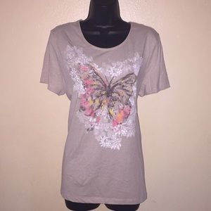 Dreamy Butterfly Print Graphic Tee
